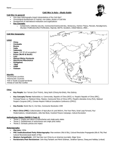 Name: Cold War in Asia – Study Guide Cold War (in general) How