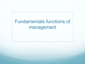 Fundamentals functions of management