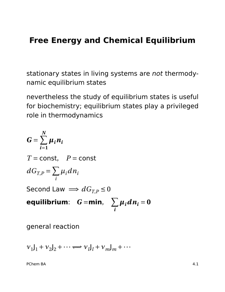 use of free energy in chemical equilibria