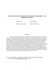 SOCIAL COGNITIVE THEORY OF GENDER DEVELOPMENT AND DIFFERENTIATION