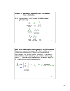 Chapter 20:  Carboxylic Acid Derivatives: Nucleophilic