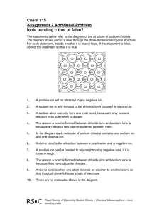 Chem 115 Assignment 2 Additional Problem Ionic bonding – true or false?