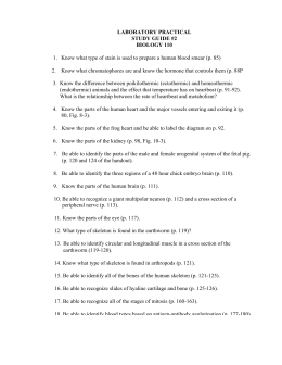 LABORATORY PRACTICAL STUDY GUIDE #2 BIOLOGY 110