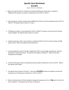 Specific Heat Worksheet Q=m∆Tc