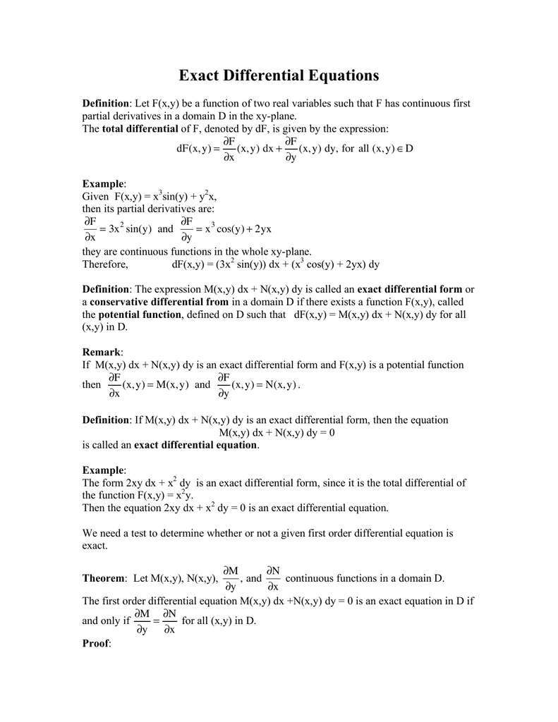 Exact Differential Equations !F = +