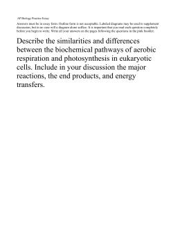 AP Biology Practice Essay