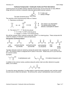 Carbonyl Compounds I: Carboxylic Acids and Their Derivatives