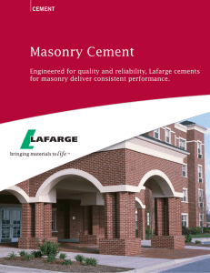Masonry Cement Engineered for quality and reliability, Lafarge cements cement