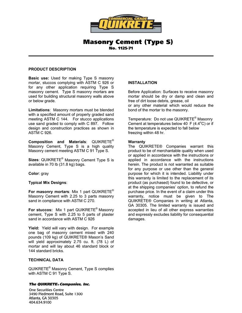Masonry Cement (Type S)