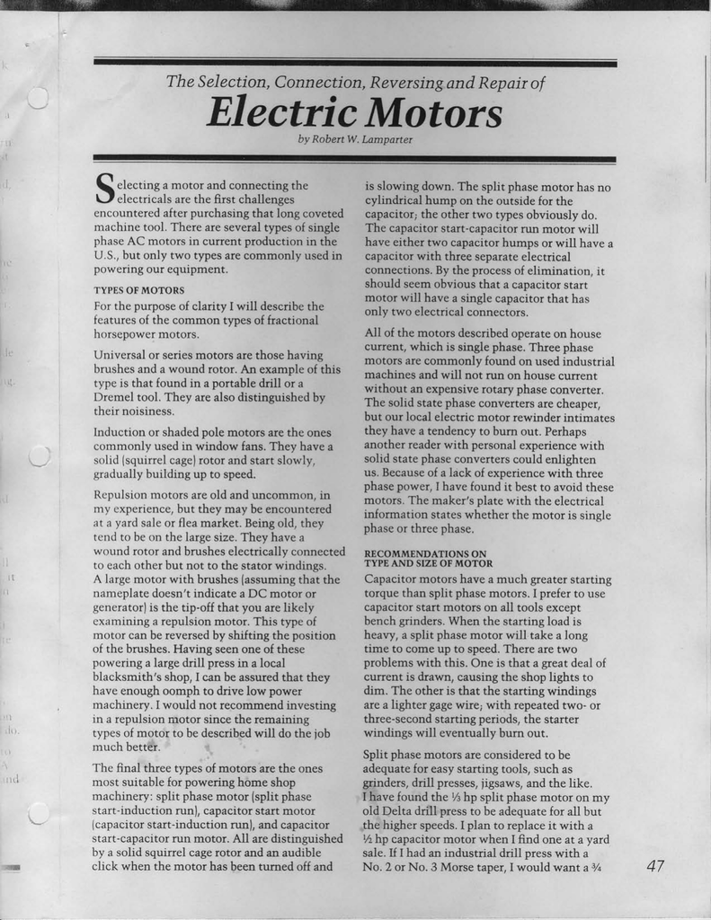 Electric Motors The Selection Connection Reversing And Repair Of Motor Wiring Diagram As Well Dayton Split Phase