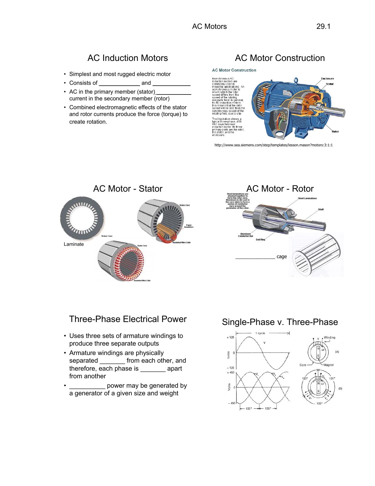 Ac Induction Motors Motor Construction Permanent Split Capacitor Run