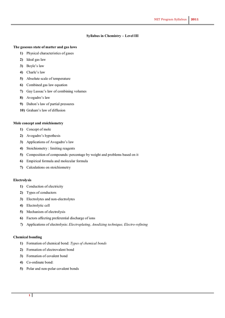 Syllabus in Chemistry – Level III 1)