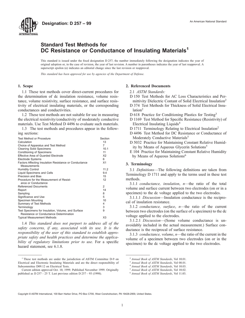 ASTM D257-99 PDF
