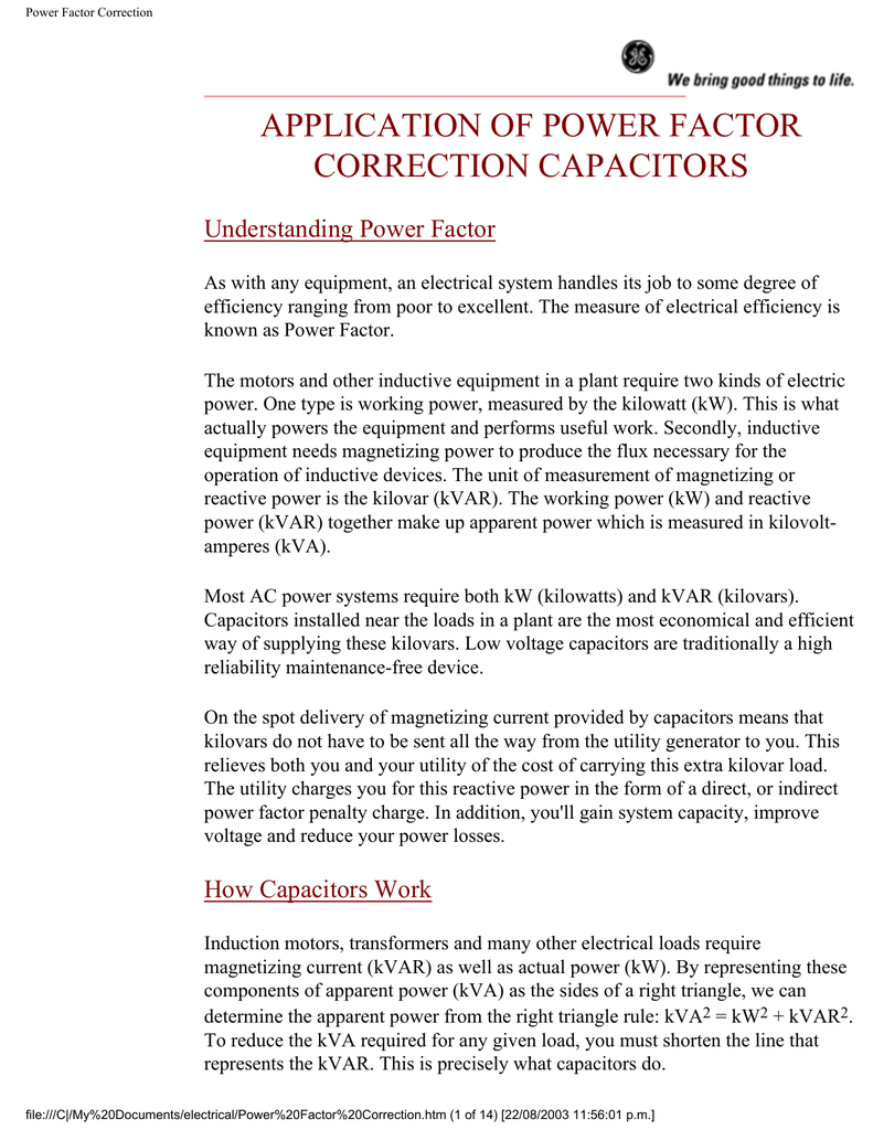 Application Of Power Factor Correction Capacitors Understanding