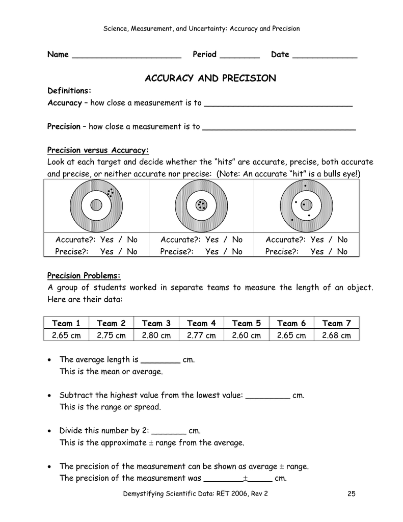 worksheet Precision And Accuracy Worksheet accuracy and precision