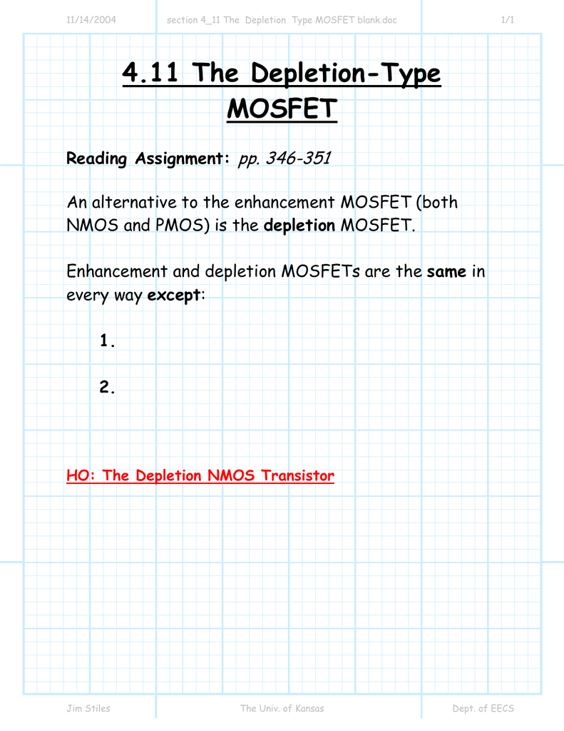 4 11 The Depletion-Type MOSFET pp  346-351 Reading Assignment: