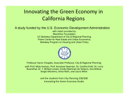 Innovating the Green Economy in  California Regions California Regions  A study funded by the U.S. Economic Development Administration