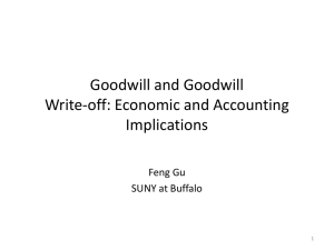 Goodwill and Goodwill Write-off: Economic and Accounting Implications Feng Gu
