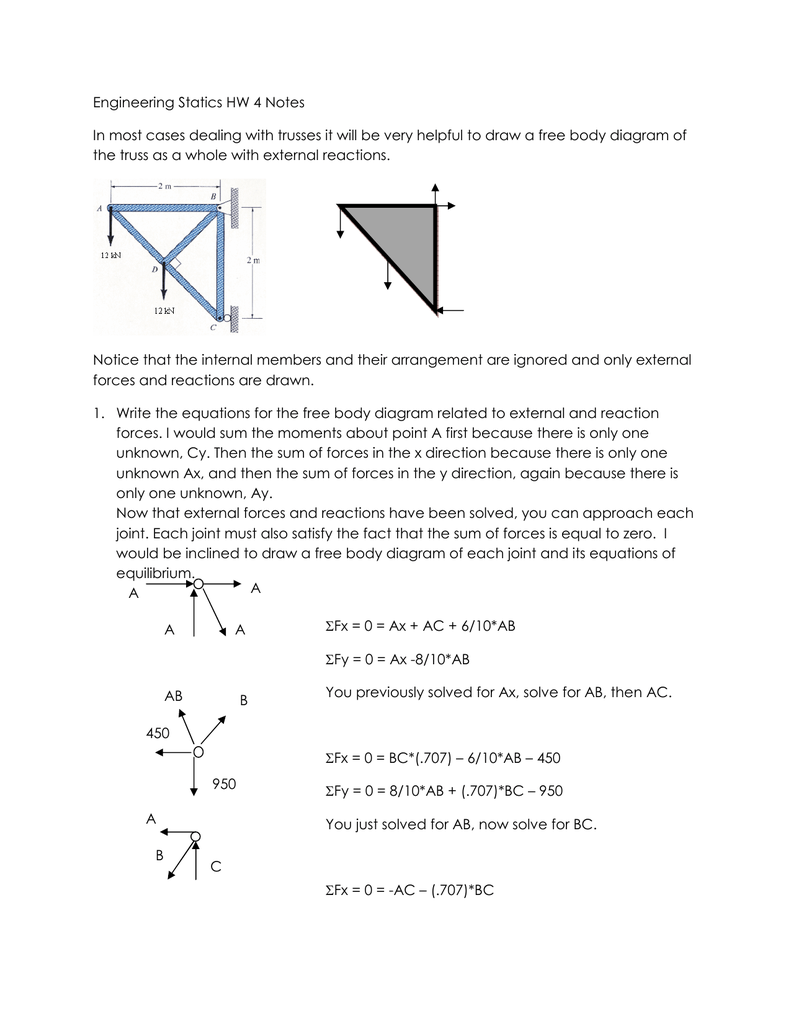reactions the free body diagram of the truss as a unified structureengineering statics hw 4 notes rh studylib net