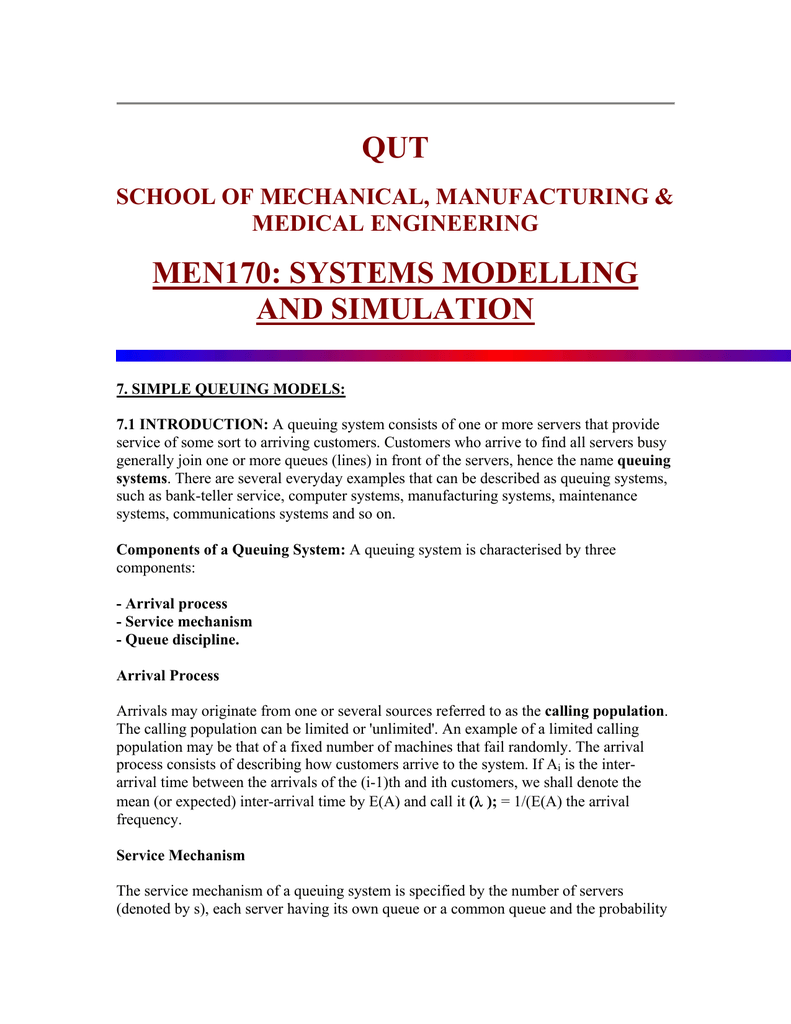 QUT MEN170: SYSTEMS MODELLING AND SIMULATION SCHOOL OF MECHANICAL