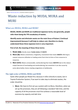 Waste reduction by MUDA, MURA and MURI MUDA, MURA & MURI