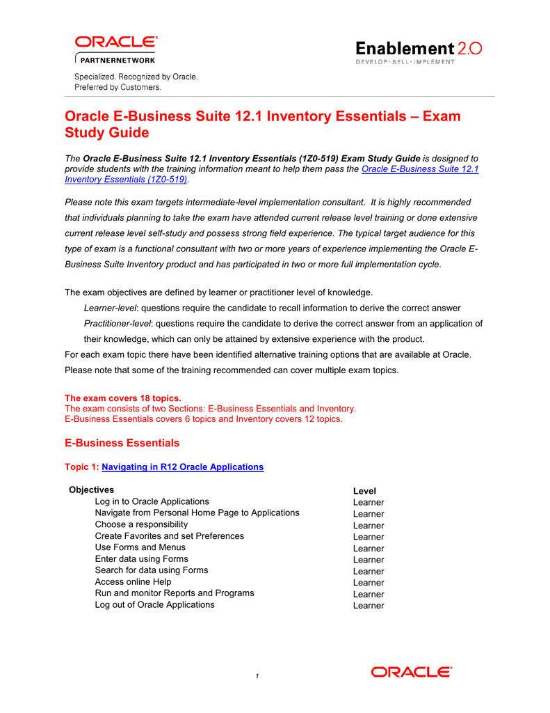 Exam Oracle E-Business Suite 12 1 Inventory Essentials Study Guide