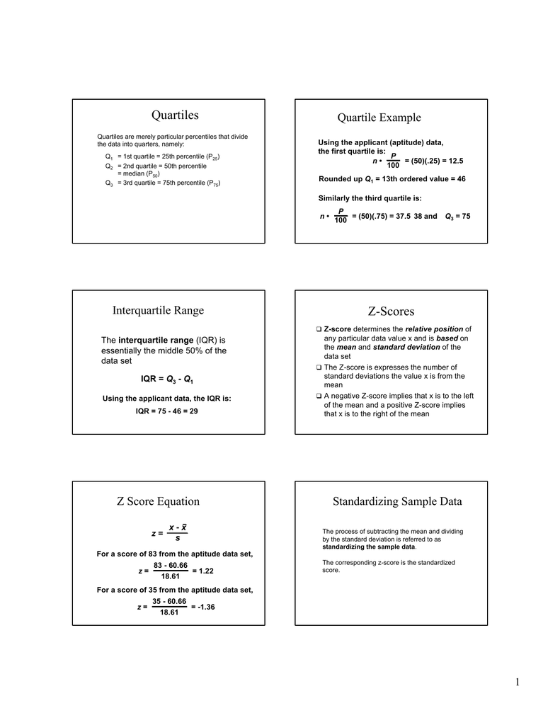 Quartiles Quartile Example