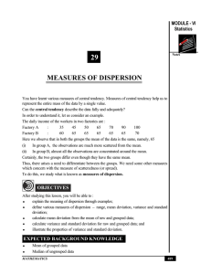 29 MEASURES OF DISPERSION MODULE - VI Statistics