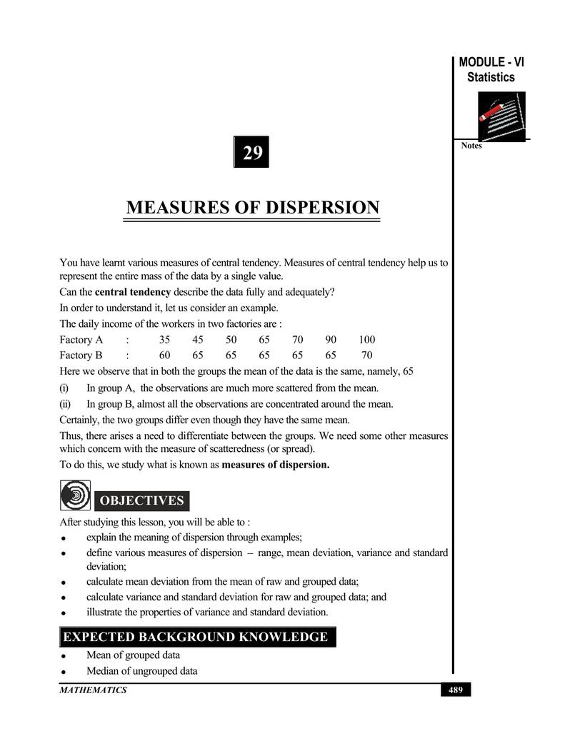 29 MEASURES OF DISPERSION MODULE - VI Statistics