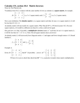 Calculus 131, section 10.4   Matrix Inverses
