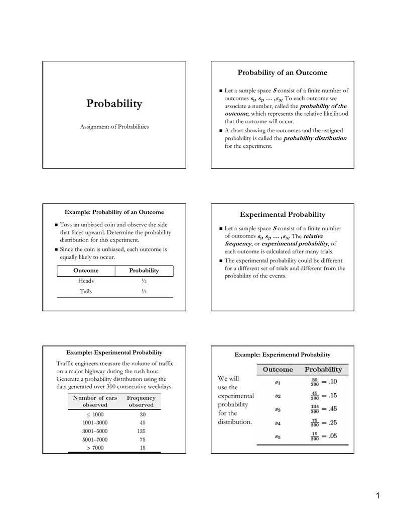 Probability Probability of an Outcome