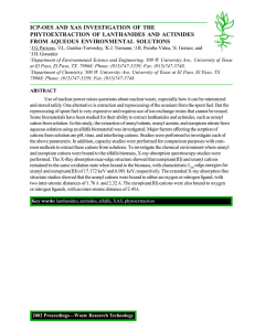 ICP-OES AND XAS INVESTIGATION OF THE PHYTOEXTRACTION OF LANTHANIDES AND ACTINIDES