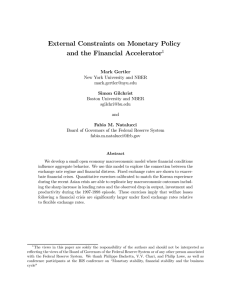 External Constraints on Monetary Policy and the Financial Accelerator