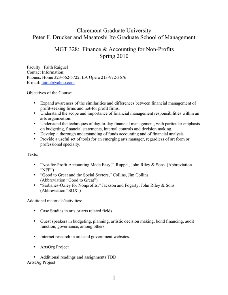 Claremont Graduate University MGT 328: Finance &