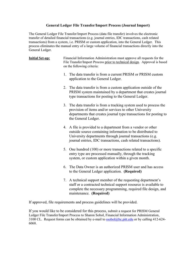 General Ledger File Transfer/Import Process (Journal Import)