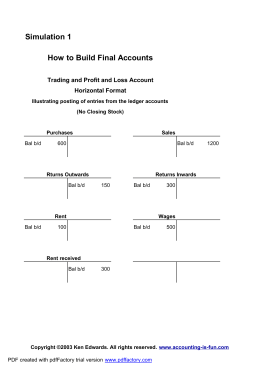 Simulation 1 How to Build Final Accounts Horizontal Format