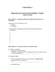 CHAPTER 11  Reporting and Analyzing Stockholders' Equity Chapter Outline