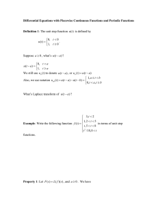 Differential Equations with Piecewise Continuous Functions and Periodic Functions Definition 1