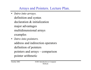 Arrays and Pointers. Lecture Plan.