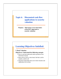 Learning Objectives Satisfied: Topic 6: Discounted cash flow applications to security valuation