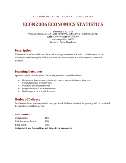 ECON2006 ECONOMICS STATISTICS Description THE UNIVERSITY OF THE WEST INDIES, MONA