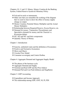 Chapters 10, 11 and 12: Money, Money Creation & the... System, Federal Reserve System & Monetary Policy