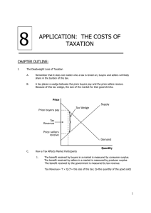 8 APPLICATION:  THE COSTS OF TAXATION CHAPTER OUTLINE: