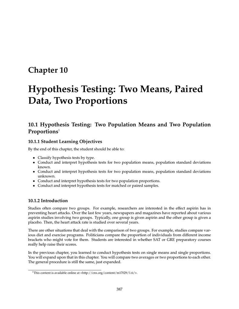 Hypothesis Testing Two Means, Paired Data, Two Proportions Chapter 20