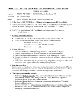 PHYSICS - 211     PHYSICS SCIENCE COURSE SYLLABUS