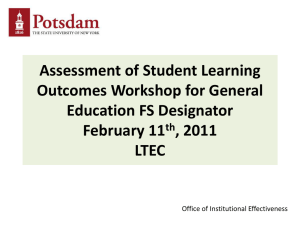 Assessment of Student Learning Outcomes Workshop for General Education FS Designator February 11
