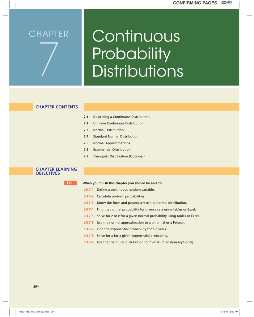 7 Continuous Probability Distributions