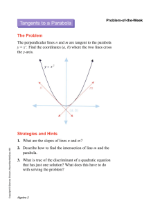 Tangents to a Parabola The Problem Strategies and Hints n