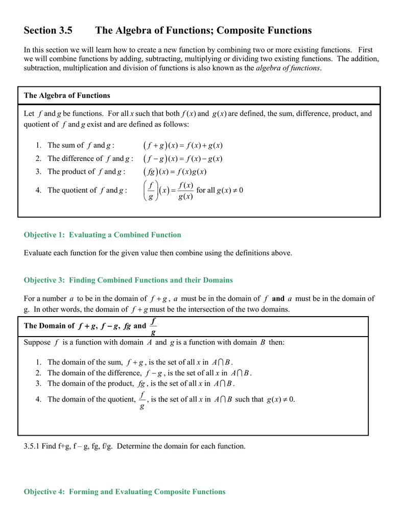 worksheet Combining Functions Worksheet section 3 5 the algebra of functions composite functions