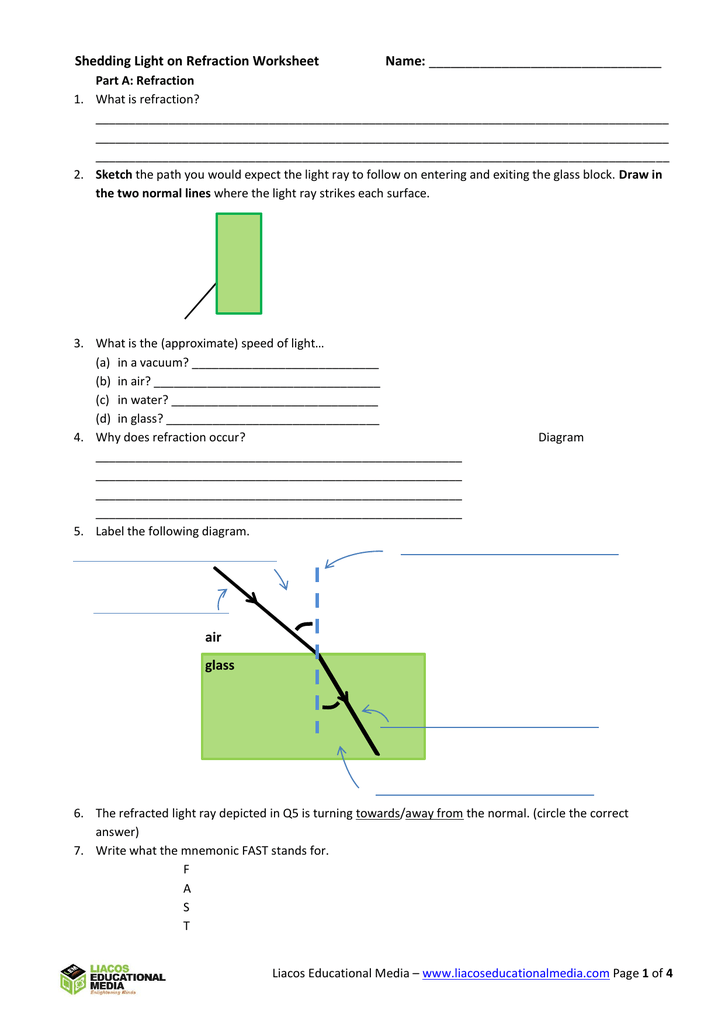Shedding Light on Refraction Worksheet ...